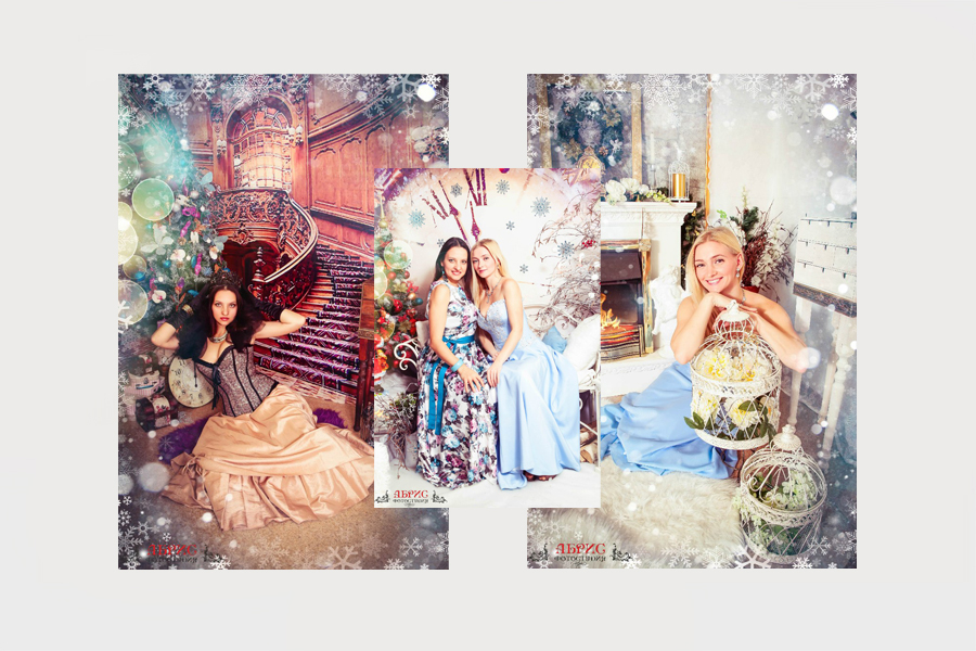 Подружки в разных образах… Новогодние фотосессии…
