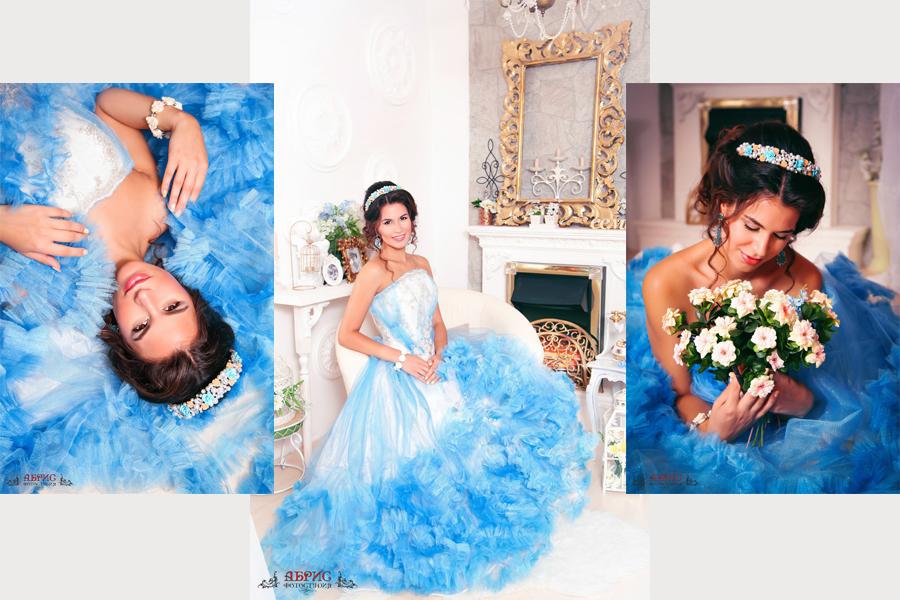 Фотопроект с шикарным воздушным платьем и ободками ручной работы в фотостудии Абрис г. Томск