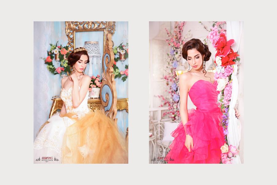 Фотосессия в наших новинках, красивые платья в цвете фуксия и шикарном золотом платье со шлейфом.