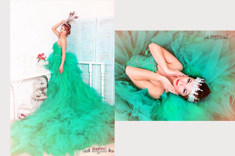 Фотопроект «Красивая жизнь» с шикарным зеленым платьем, с длинным шлейфом, аренда/прокат фотостудия Абрис Г. Томск.
