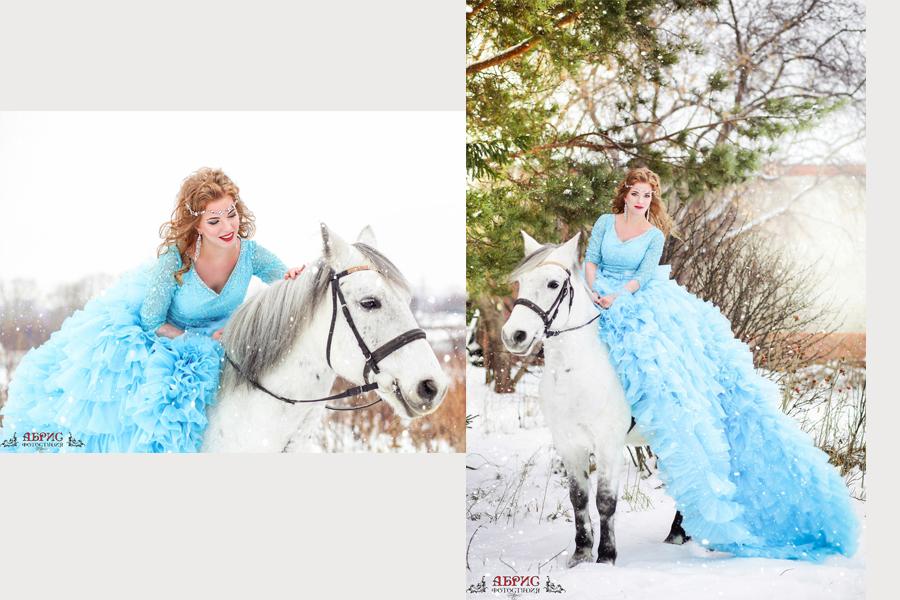 Сказочная фотосессия с лошадьми в г. Томске, фотостудии Абрис, с прокатом шикарных платьев!